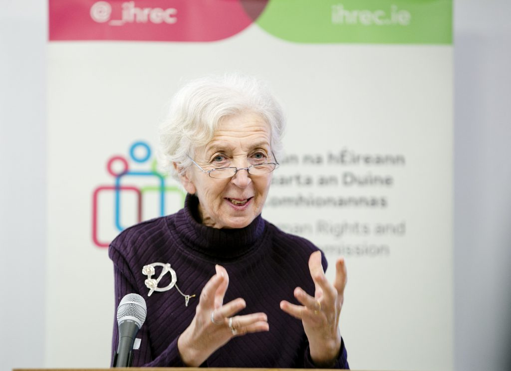 CERD Chair Anastasia Crickely speaking at IHREC international protection seminar on Feb 1st