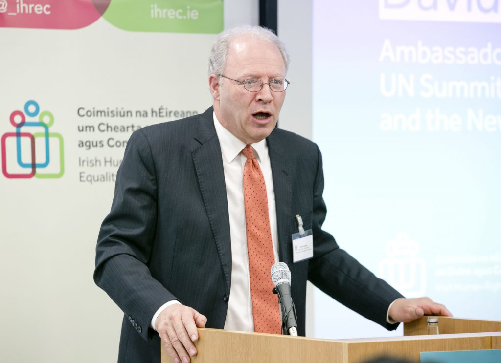 Irish UN Ambassador, David Donoghue speaking at International Protection seminar