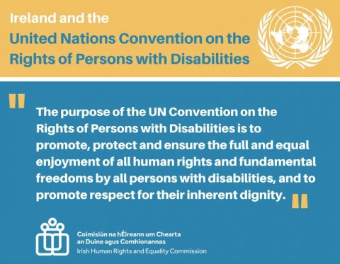 Graphic quoting the text from the CRPD about the purpose of the Convention to promote, protect and ensure the full enjoyment of all human rights for persons with disabilities.