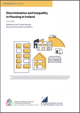 Cover image of Discrimination in Housing in Ireland showing different types of housing and accommodation