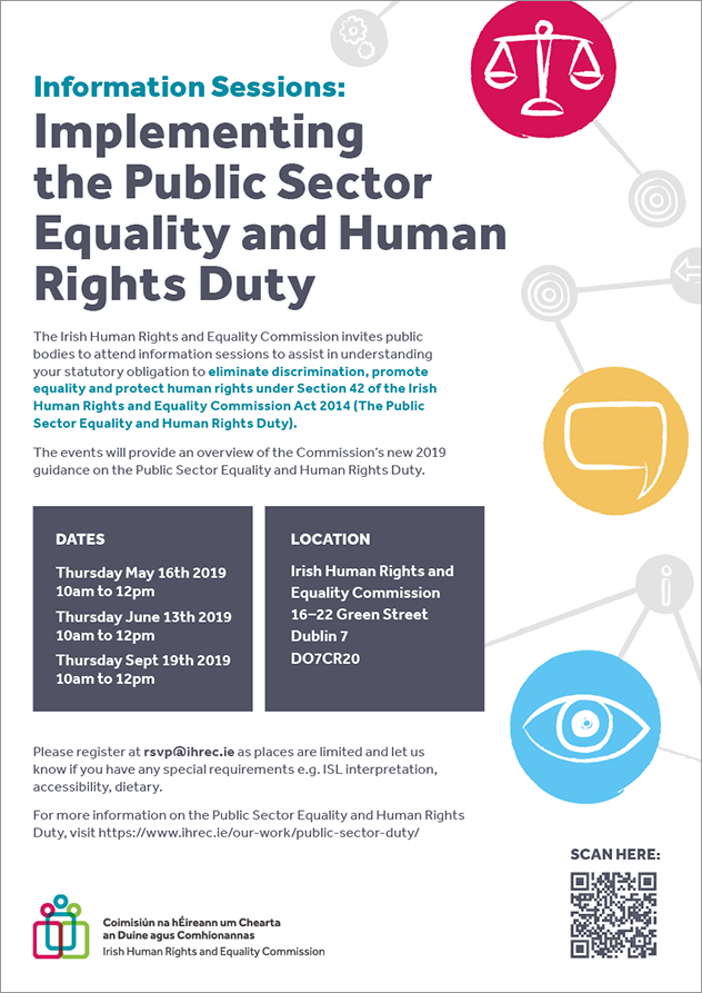 Event Poster for Public Sector Duty Information Sessions held at 16-22 Green St Dublin 7 on 16 May, 13 June and 19 September 2019, 10am - Noon. Email rsvp@ihrec.ie to RSVP to this event.