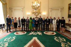 Michael D Higgins and Leo Varadkar at swearing in of new Commission members
